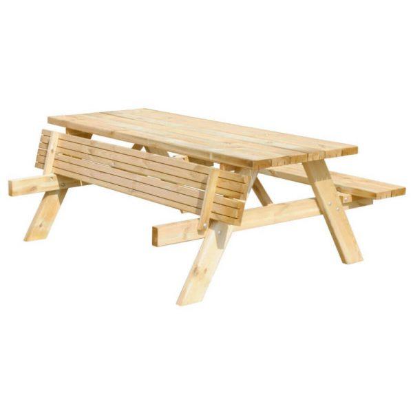 Picknicktafel 180 centimeter schuin aanzicht met opklapbare bank